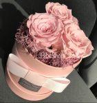 3 db rózsaszín örökrózsa dobozban